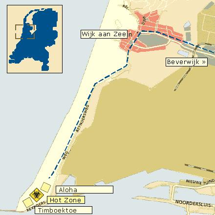 De route door Wijk aan Zee naar Hot Zone